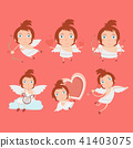 Cupid angels icons set - little boy with a bow and 41403075