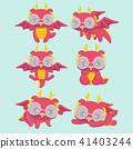 Cute cartoon dragons set. 41403244
