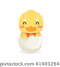 Cartoon baby duck on white background. 41403264