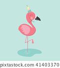 Cute cartoon flamingo. 41403370