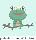 Little frog. Vector illustration of a cute little  41403445