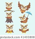 Cute cartoon hawk vector set. 41403808