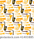 Wind musical instruments tools acoustic musician equipment orchestra seamless pattern background 41403885
