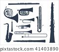 Wind musical instruments tools acoustic musician equipment orchestra vector illustration 41403890