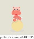 Cute funny hippo. 41403895