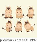 A set of cute brown cartoon horses. 41403992