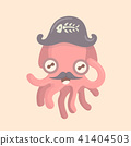 Cute octopus cartoon on pastel background. 41404503