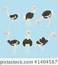 Cute ostrich cartoon collection set.  41404567