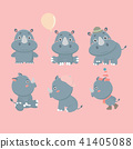 Set of different rhinoceroses. 41405088