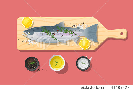 Fresh raw salmon fish and spices on cutting board 41405428