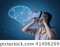 ai brain with vr headset 41406269