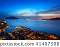 sunset, sea, city 41407308