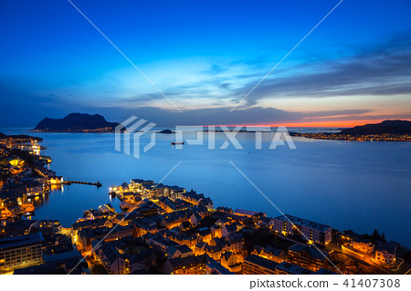 Cityscape of Alesund town at dusk, Norway 41407308