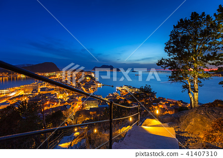 View point in over Alesund town at night, Norway 41407310