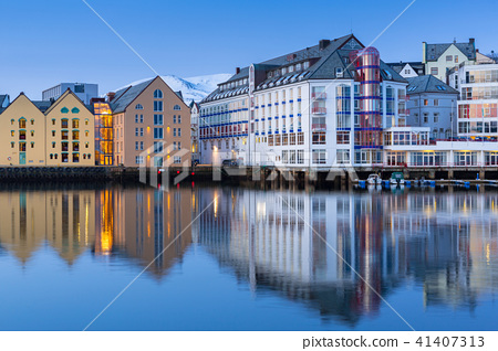 Architecture of Alesund town in Norway 41407313