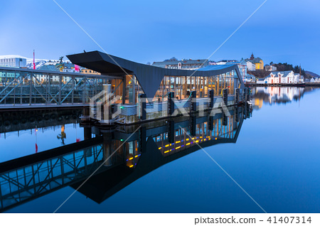 Alesund town reflected in the water, Norway 41407314