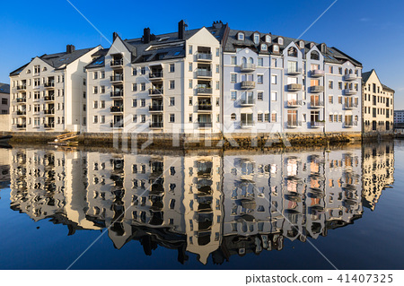 Architecture of Alesund town, Norway 41407325