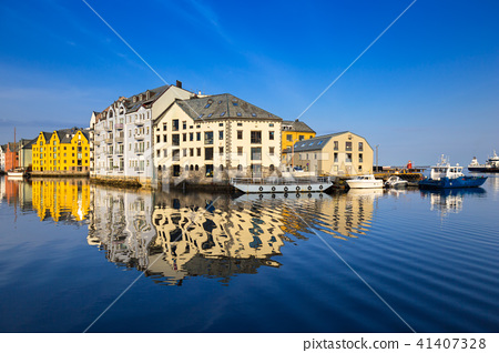 Architecture of Alesund town, Norway 41407328