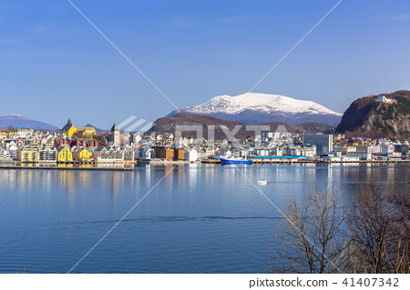 Architecture of Alesund town, Norway 41407342