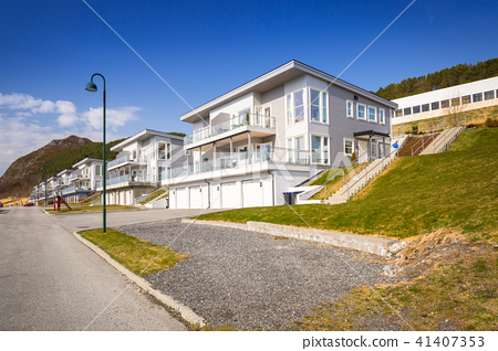 Street with holiday houses at fiords in Norway 41407353