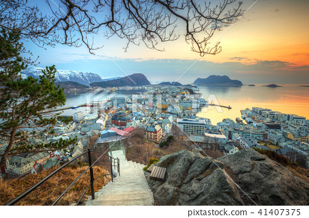 Beautiful Alesund town in Norway at sunset 41407375