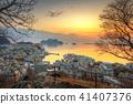 sunset, sea, cityscape 41407376