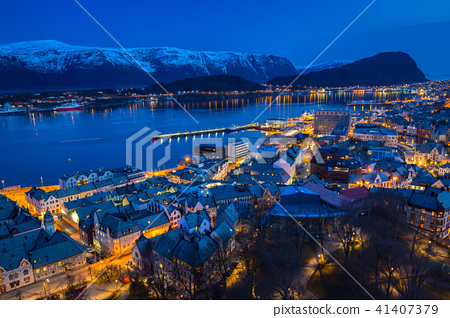 Beautiful Alesund town at night in Norway 41407379