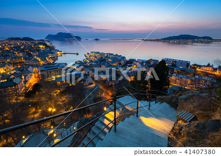 Beautiful Alesund town at dusk in Norway 41407380