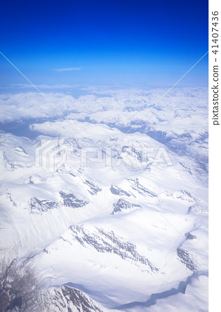 Aerial view of snowy Norway from the plane 41407436