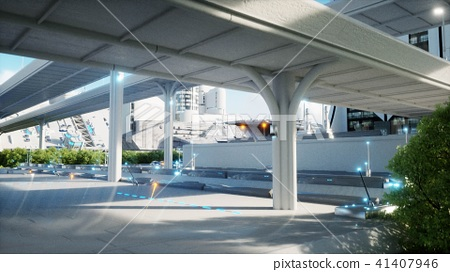 Futuristic city, town. The concept of the future. Aerial view. 3d rendering. 41407946