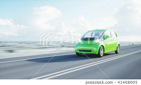 3d model of electric green car with 3d model of man. Render. Ecology concept. 3d rendering. 41408005