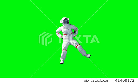 Funny astronaut dancing . Green screen. 3d rendering. 41408172