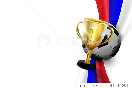 Trophy cup with soccer ball on russian flag 41410091