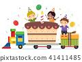 Stickman Kids Train Cake Gifts Illustration 41411485