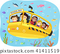 Stickman Kids School Bus Underwater Illustration 41411519