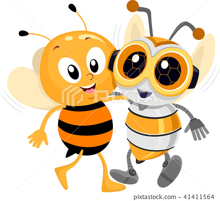 Robotics Bee Friend Illustration 41411564