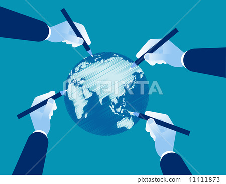 Business hand drawing earth. Concept business 41411873