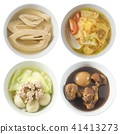 Four Style of Thai Soups on White Background 41413273