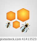 Background with bees and honeycombs. 41413523