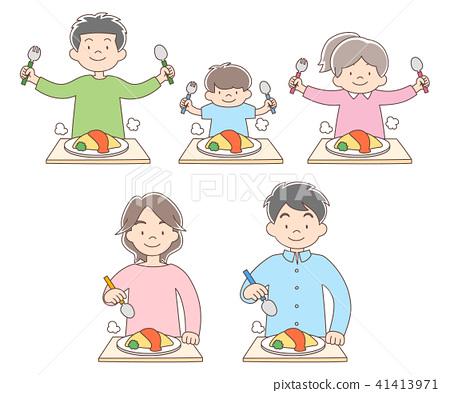 五个家庭成员_煎蛋卷饭 41413971