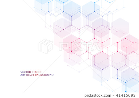Hexagonal molecular structure for medical, science and digital technology design. Abstract geometric 41415695