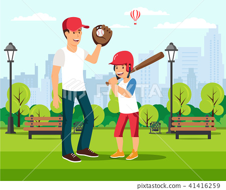 Happy cartoon father plays baseball with son 41416259