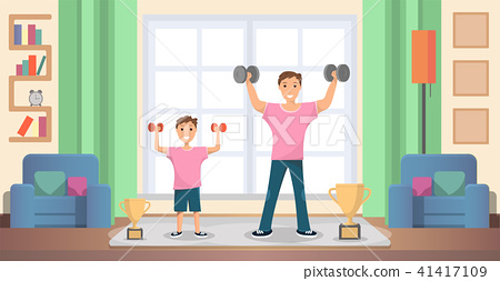 Father with Son Doing Exercises at Home Vector 41417109