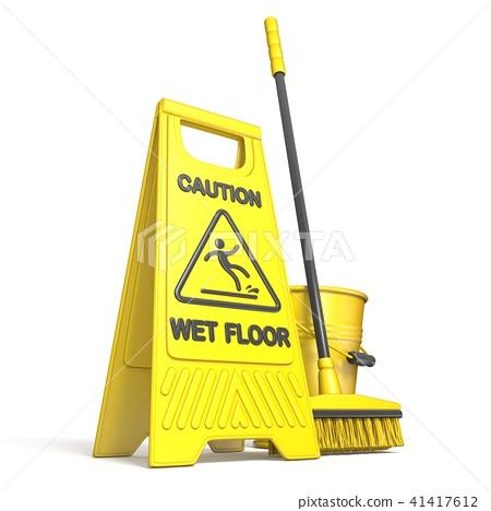 Yellow wet floor sign, bucket and mop 3D 41417612