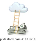 Cloud shape and ladder over dollars banknotes 3D 41417614