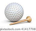 Golf ball and wooden tee 3D rendering illustration 41417708