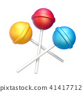 Three sweet lollipops 3D rendering 41417712
