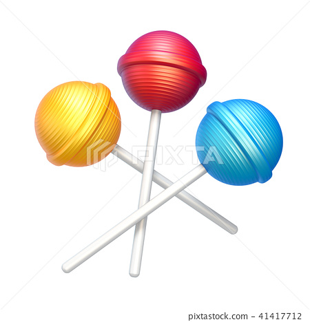 Three sweet lollipops 3D rendering 41417712