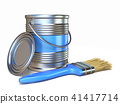 Blue color metal paint can and brush 3D 41417714
