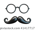 Black mustache and circular glasses 3D rendering 41417717